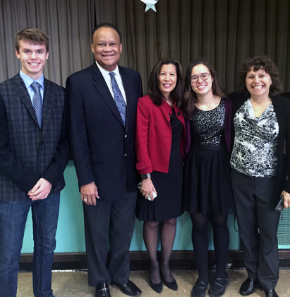 Judges at Sutter (left to right): Student R.J. Czajkowski, England, Cantil-Sakauye, student Arin Wise and Cooperman