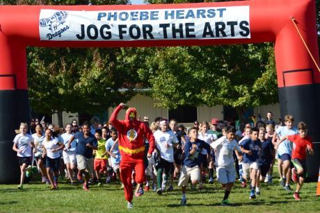Phoebe Hearst sixth grade teacher Mark Henrikson leads a race