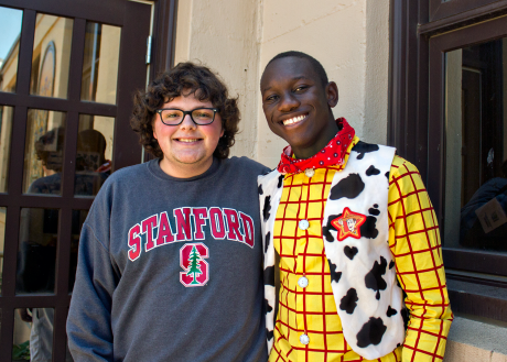 Hackett and Djan. The Woody costume is the result of Rent-a-Senior activities.