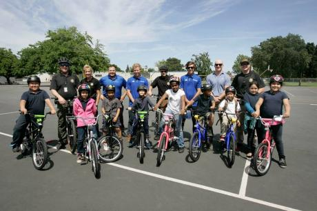 Pacific Elementary students with their new bikes
