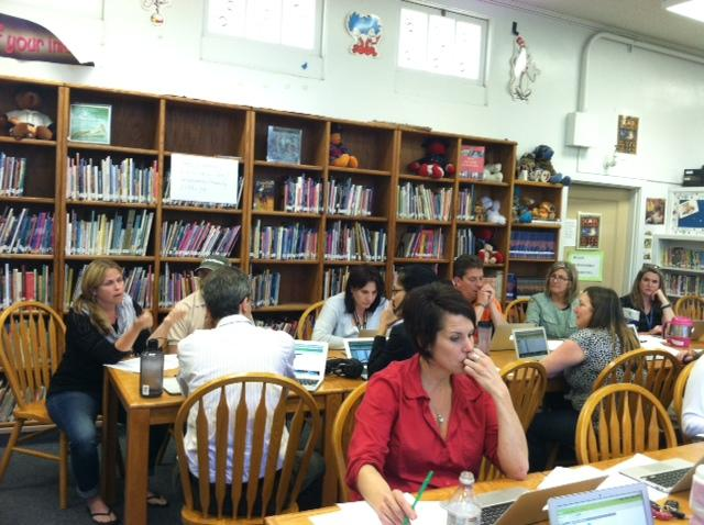Theodore Judah staff learns about Infinite Campus at a teacher-led training.