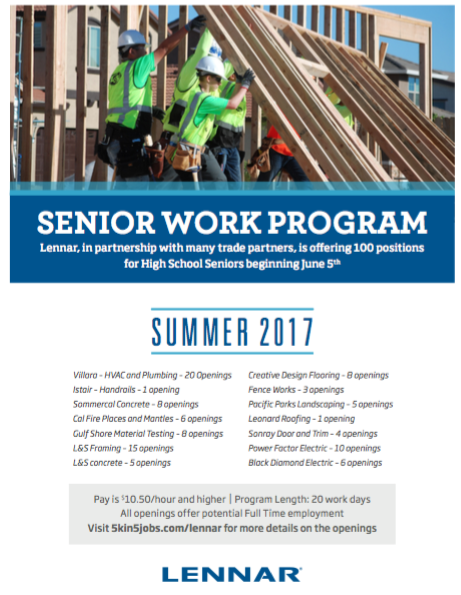 Lennar Homes Senior Internship
