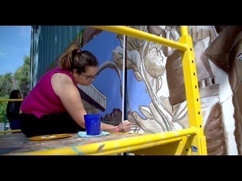 UC Davis students paint mural for Cesar Chavez Intermediate