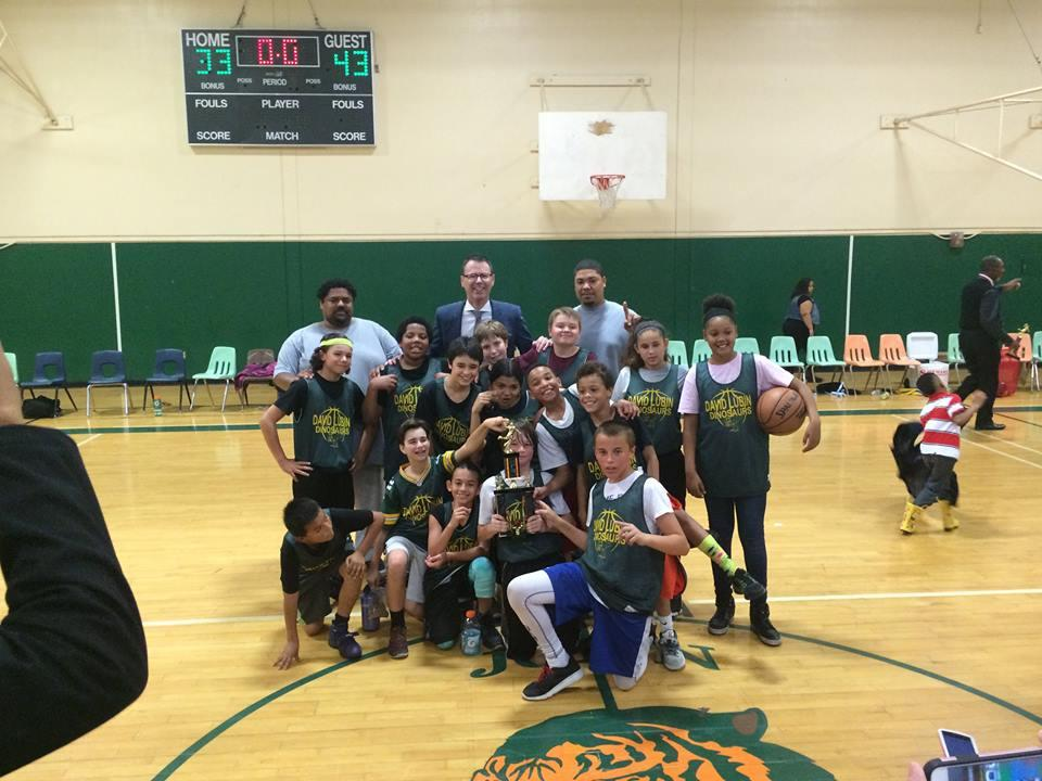 Image of David Lubin clinches elementary school basketball championship