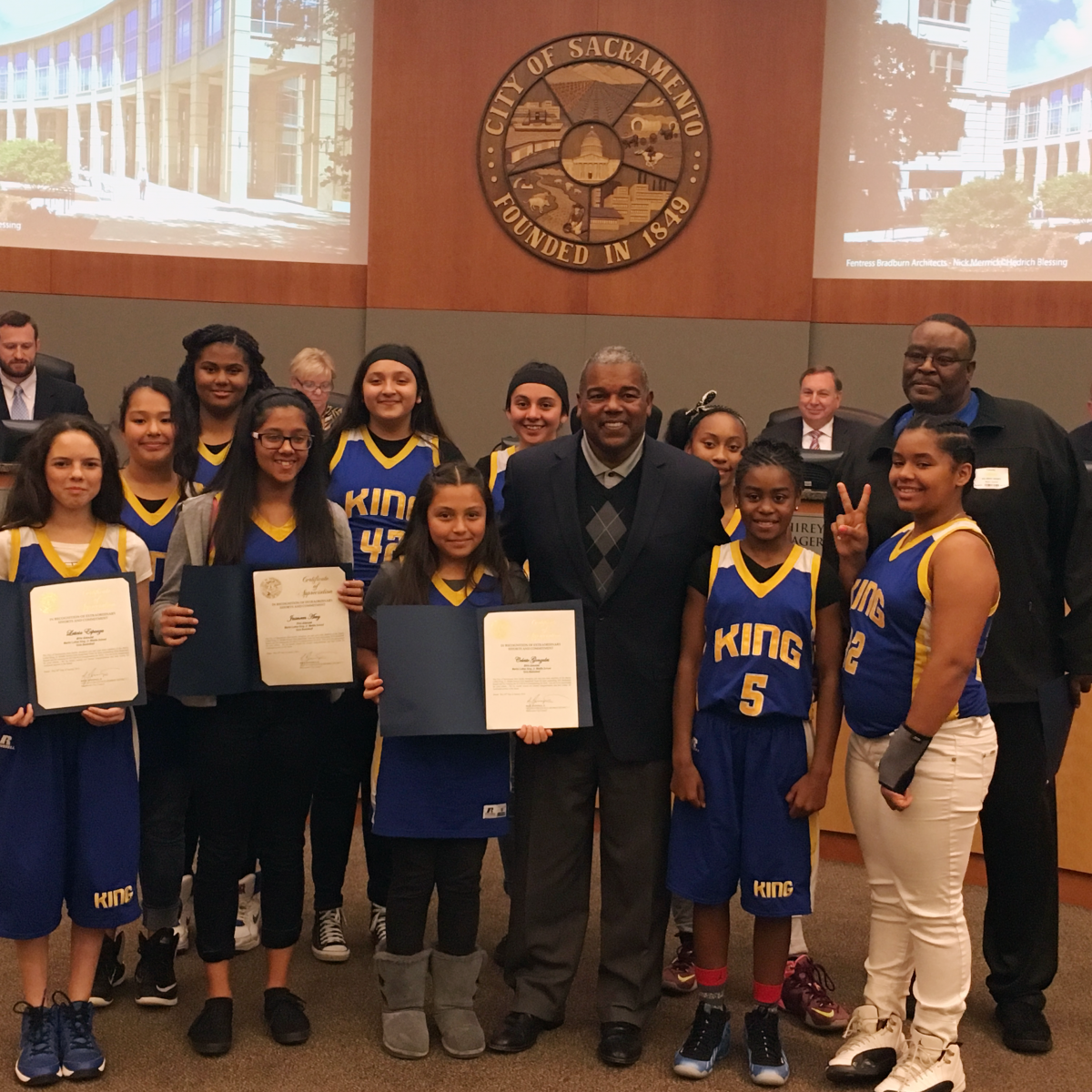 Image of MLK K-8 girls basketball team honored at City Hall