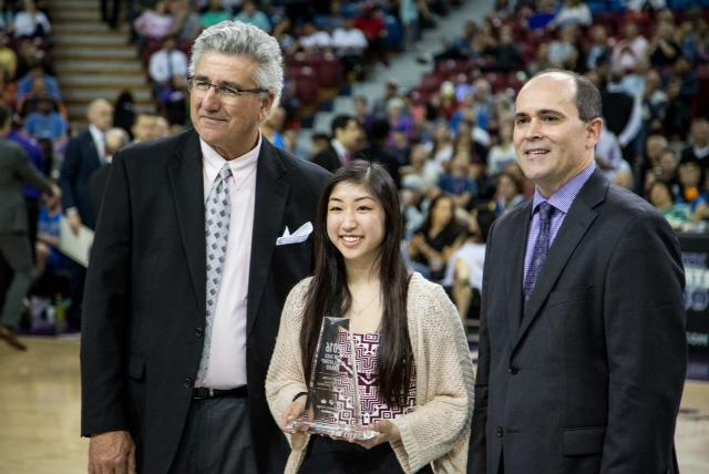 Image of Kings honor CKM's Kelsey Wong with Pete Saco Award
