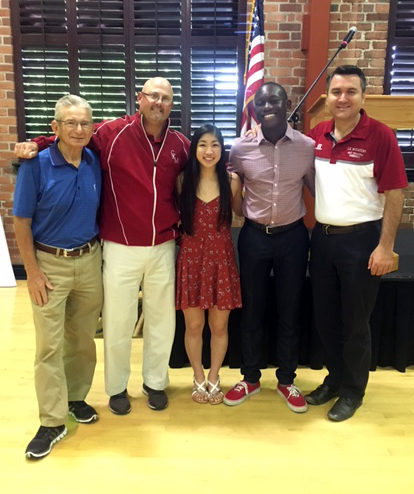 Pictured (left to right): SCUSD Athletic Director John Smith, CKM Athletic Director Rob Feickert, Wong, Djan and CKM Assistant Principals Gino Dubrescu