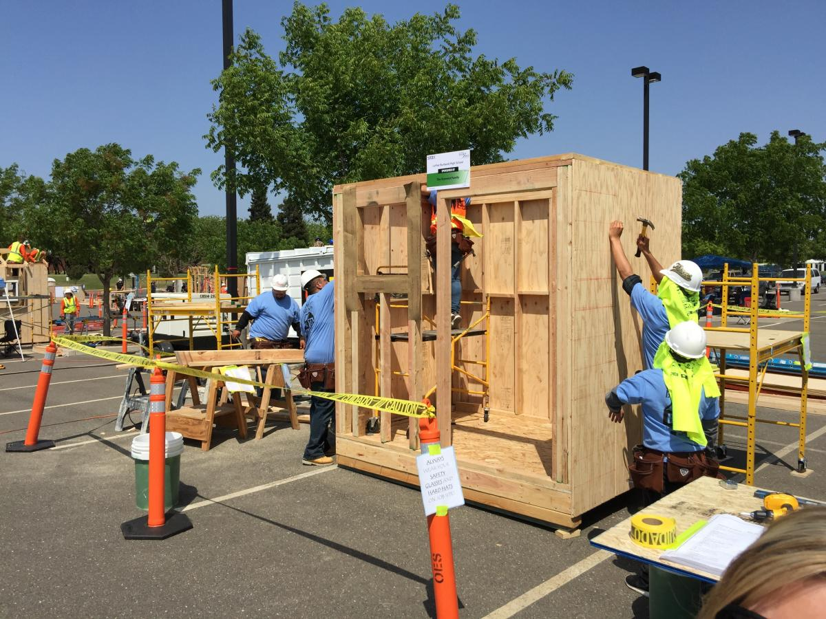 Image of Support Burbank construction students as they compete to win