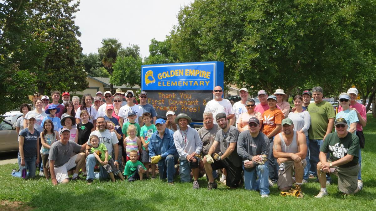 Image of Volunteers spruce up Golden Empire Elementary