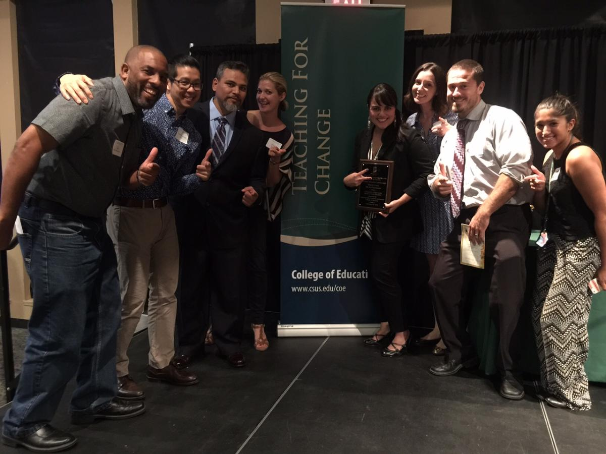 Image of Met teacher, internship partner win awards from Sacramento State