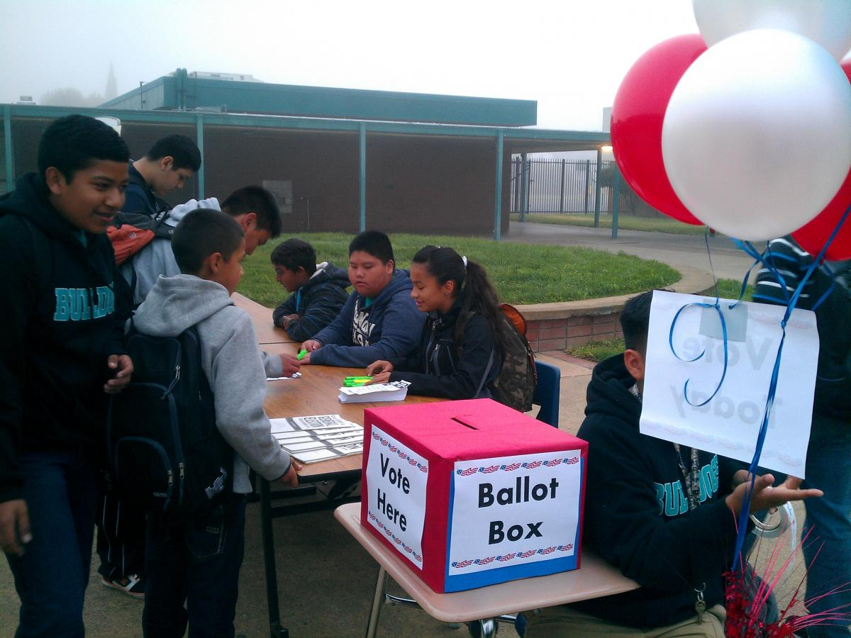 Image of Fern Bacon students learn about civic responsibility in mock election