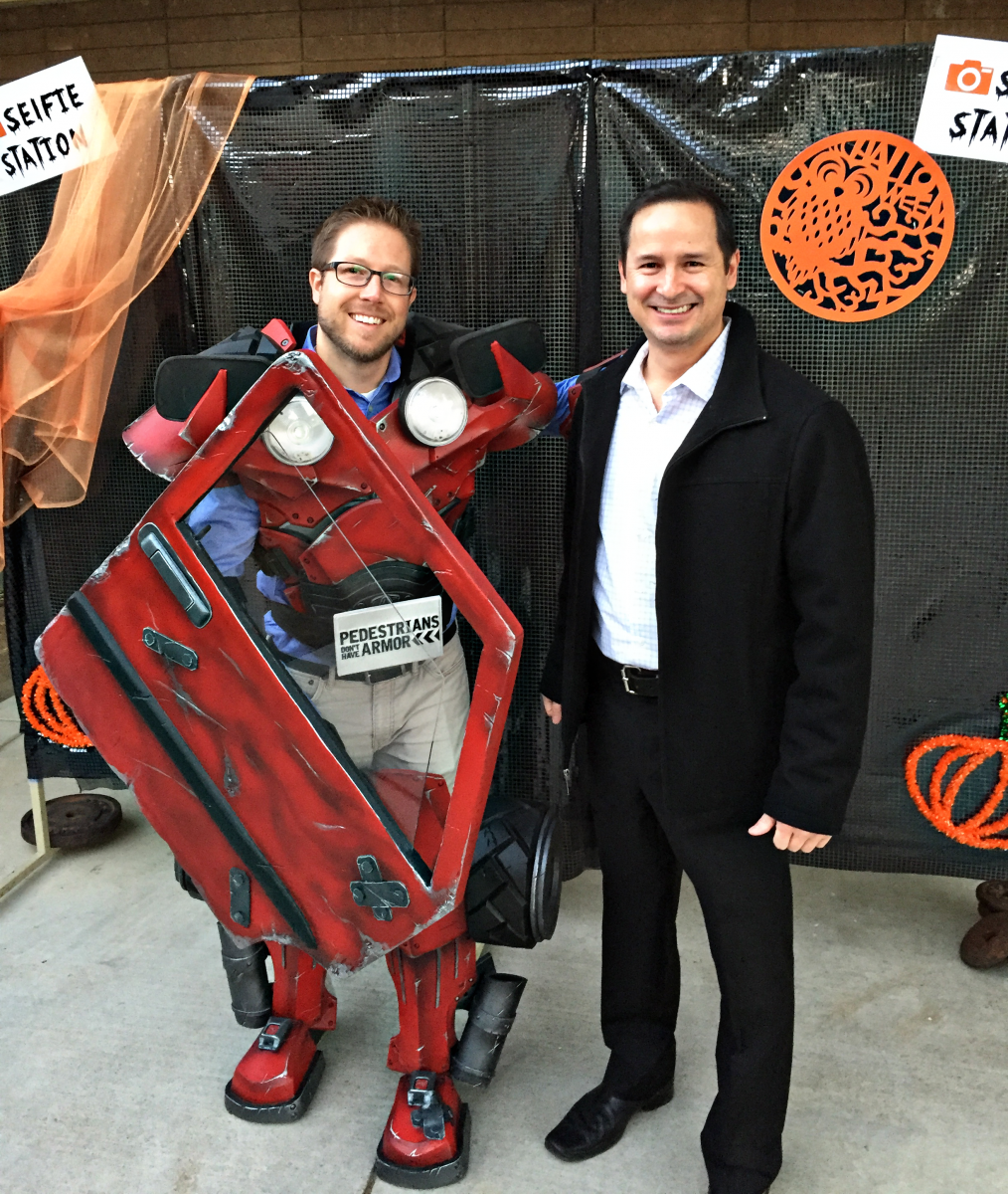 Image of Will C. Wood's Halloween-themed pedestrian safety fair features 'Pete Walker'