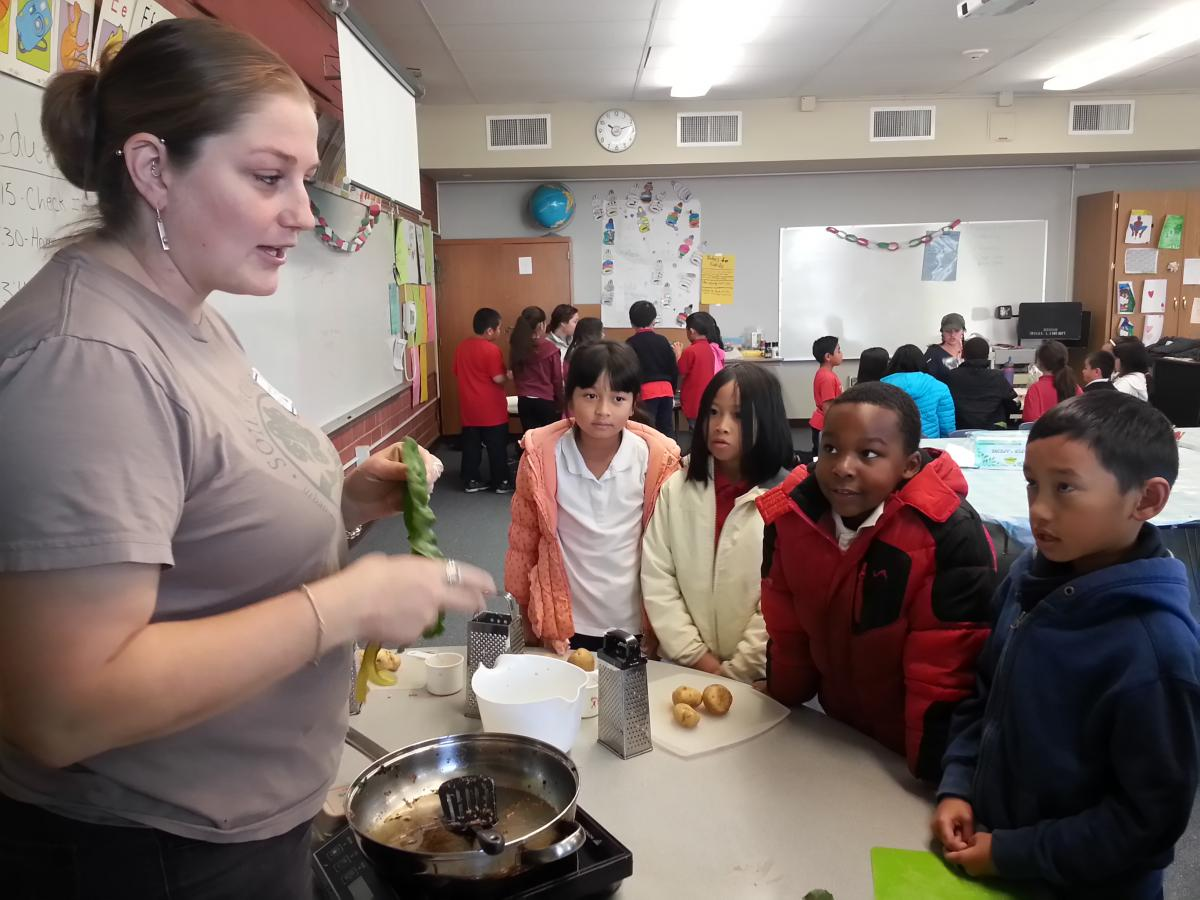 Image of Camellia students learn to harvest and cook fresh veggies