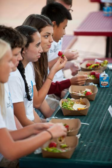 Image of Students sample new healthy lunch items at CKM event