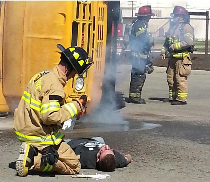Image of SCUSD, local law enforcement stage mock school bus crash
