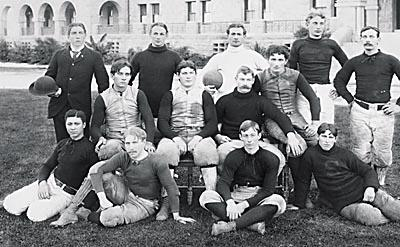 Johnson, seated on far left, was in Stanford's pioneer graduating class. (Photo courtesy Stanford Magazine)