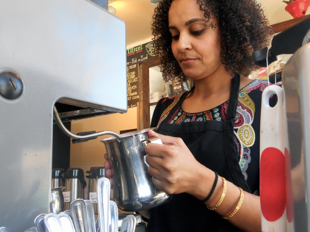 Sabrina Berhane, owner of Tiferet coffee shop. Photo by Yaire Padilla